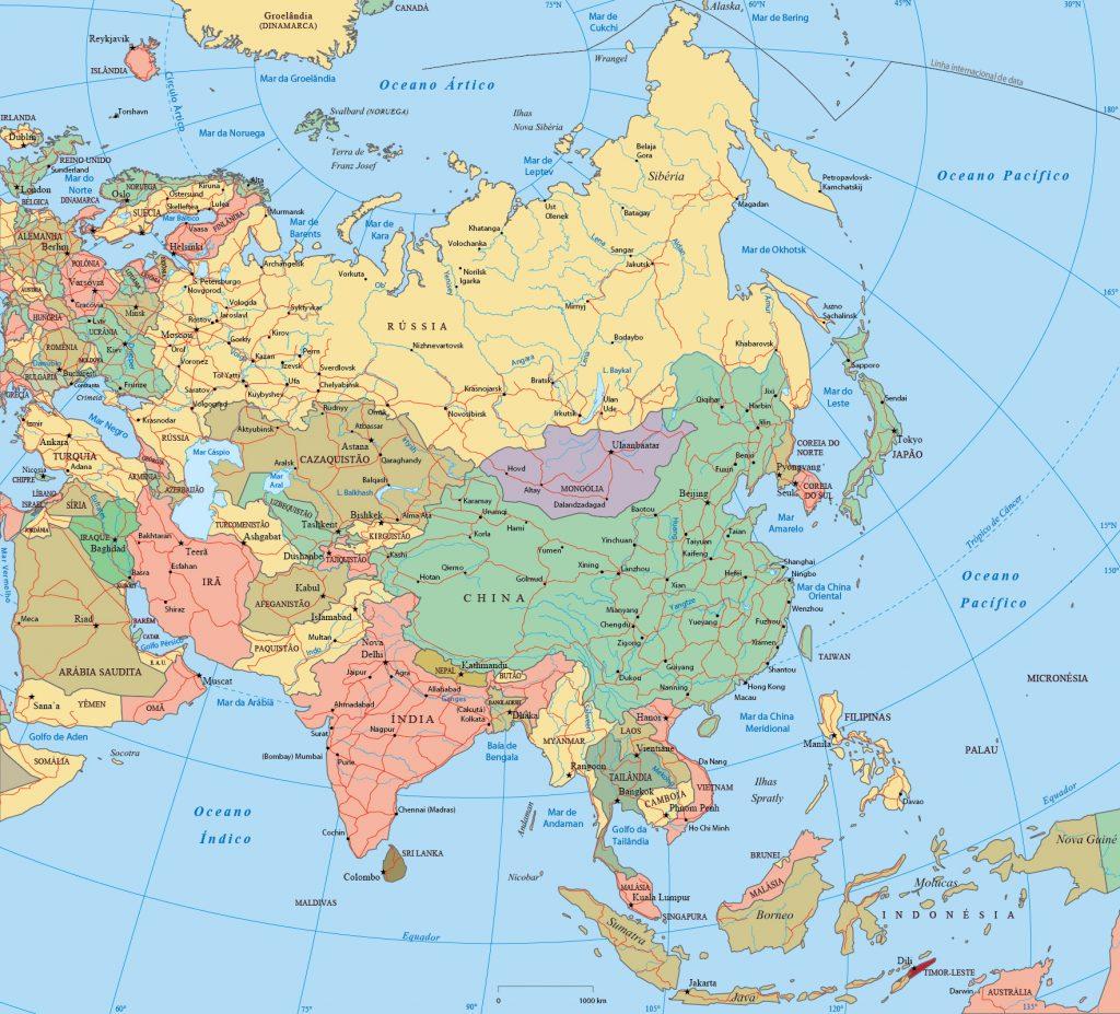 Mapa da ásia político