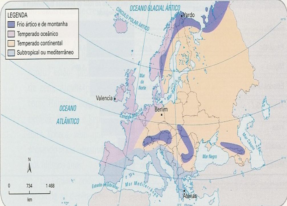 Mapa da Europa - Clima