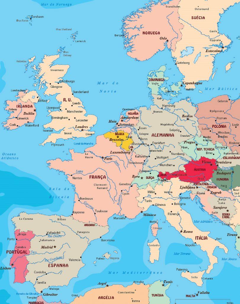 Mapa da Europa Ocidental