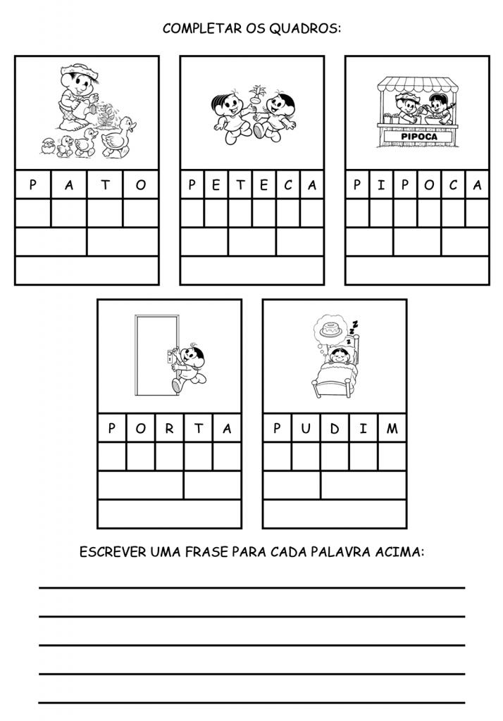 Atividades para imprimir - Complete o quadro com a letra (P, R e S)