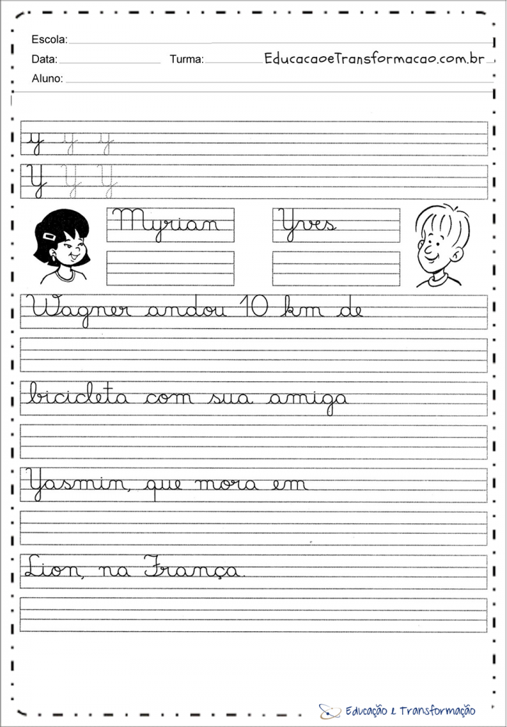 Atividades Letra cursiva y para imprimir