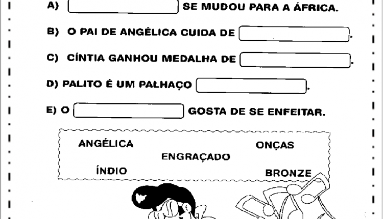Atividades de Alfabetização com AN, EN, IN, ON e UN – Complete frases