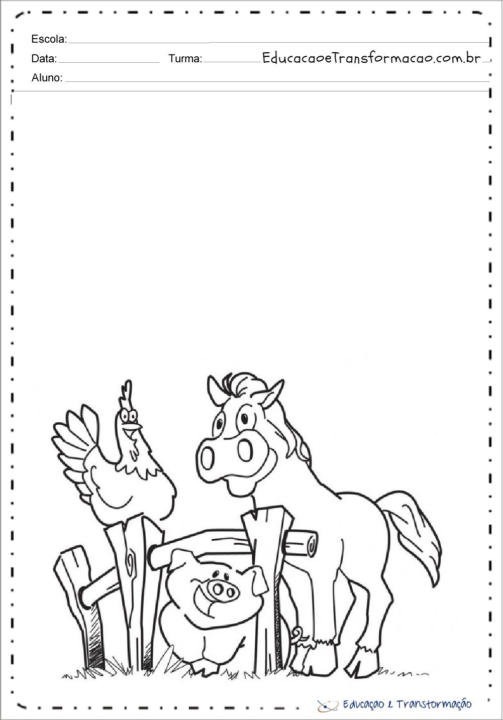 Porco Cavalo E Galinha Animais Da Fazenda Para Colorir