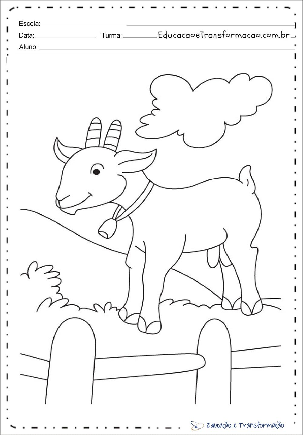 Desenhos De Animais Da Fazenda Cabra Para Colorir Educacao E