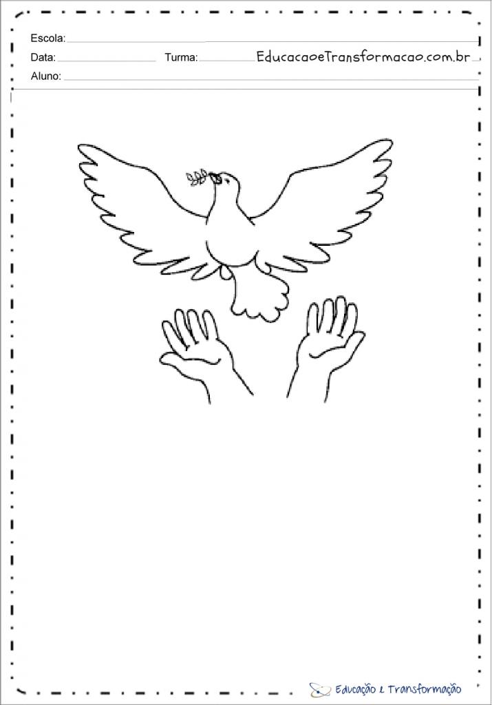 Desenhos de pombas da paz para colorir