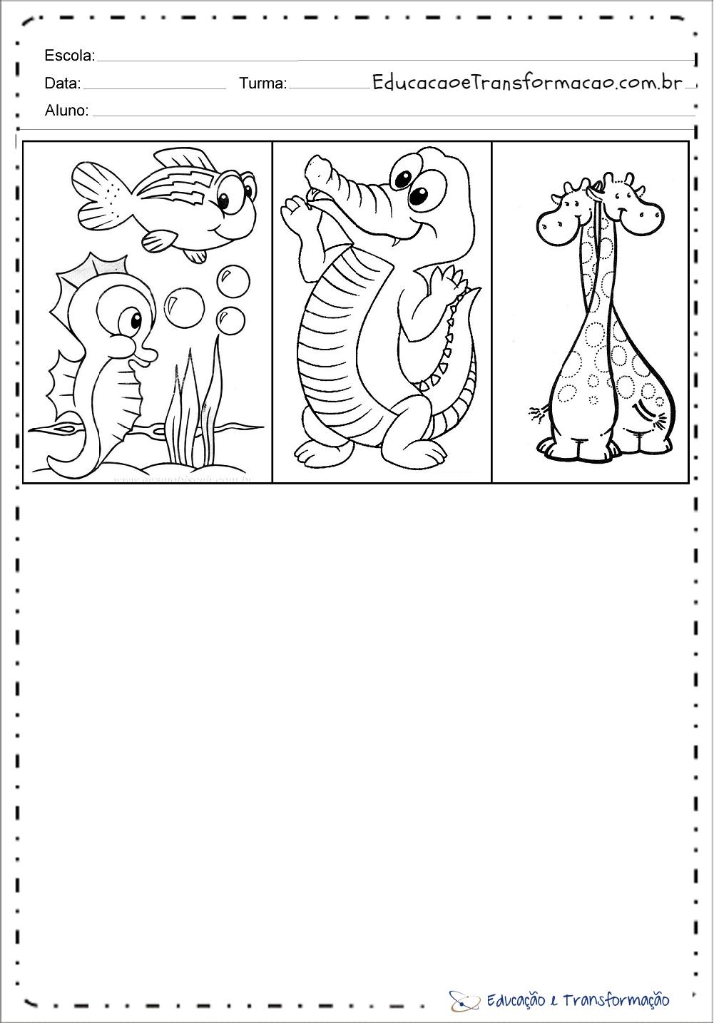 Peixe Jacare E Girafas Para Colorir Educacao E Transformacao