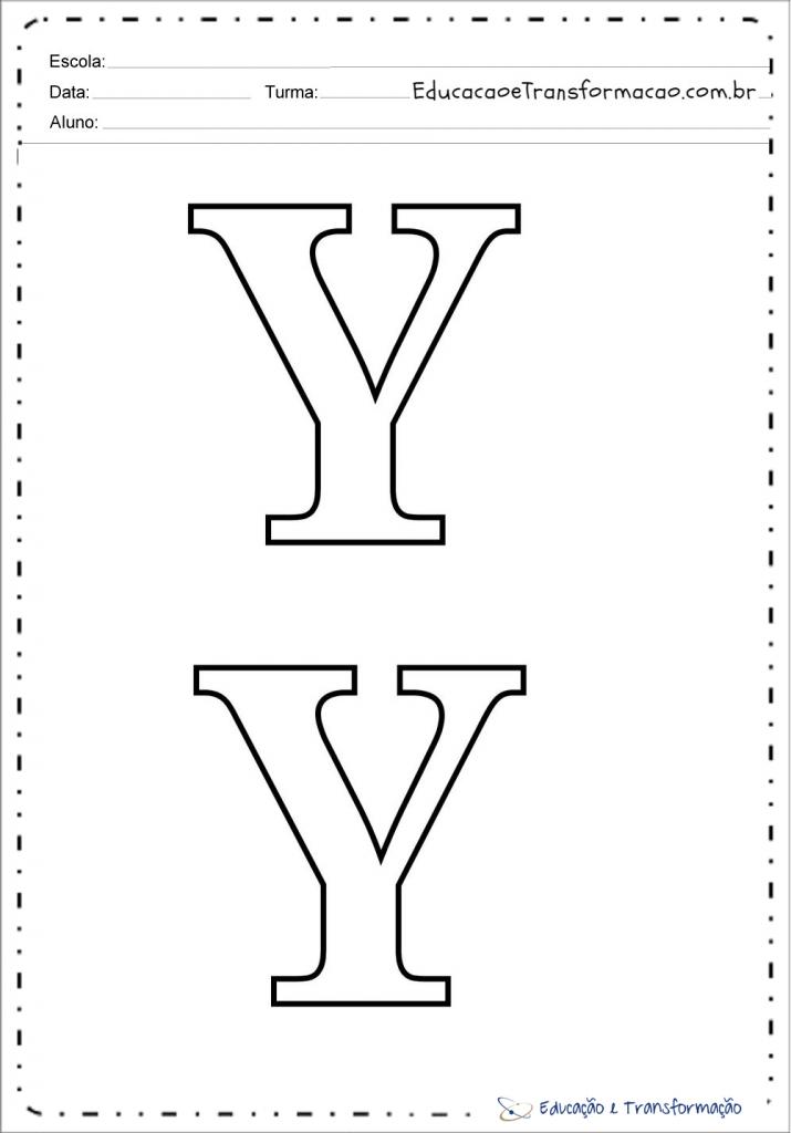 Letra Y para imprimir e colorir