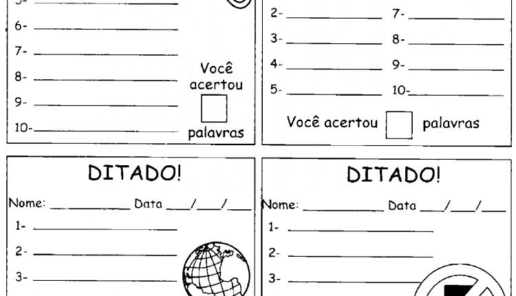 Modelo de folha para ditados de palavras para imprimir