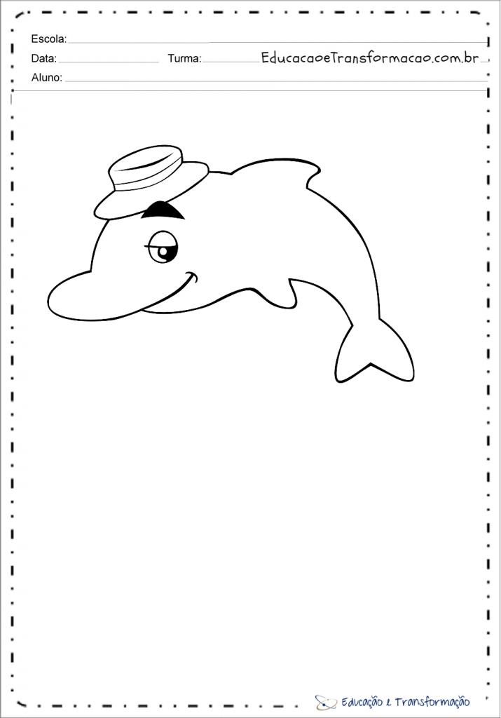 Desenhos do Boto cor de rosa para colorir e imprimir