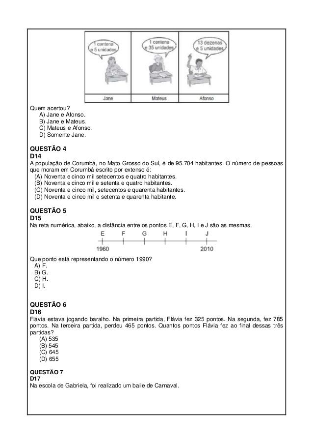 Simulados De Matemática 5 Ano para imprimir (ProEB)