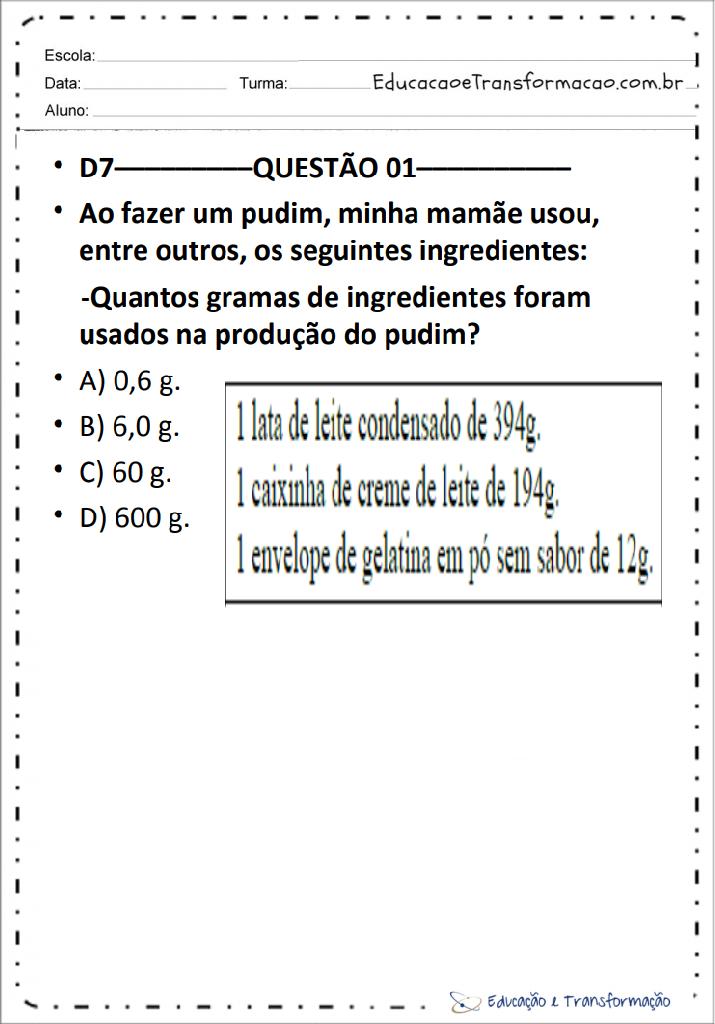 Simulados De Matemática 5 Ano com descritores para imprimir