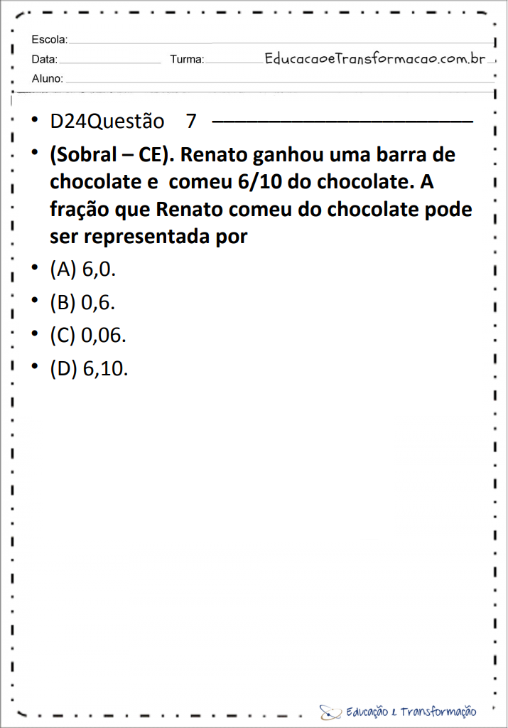 Simulados De Matematica 5 Ano Ensino Fundamental Saeb E Prova Brasil