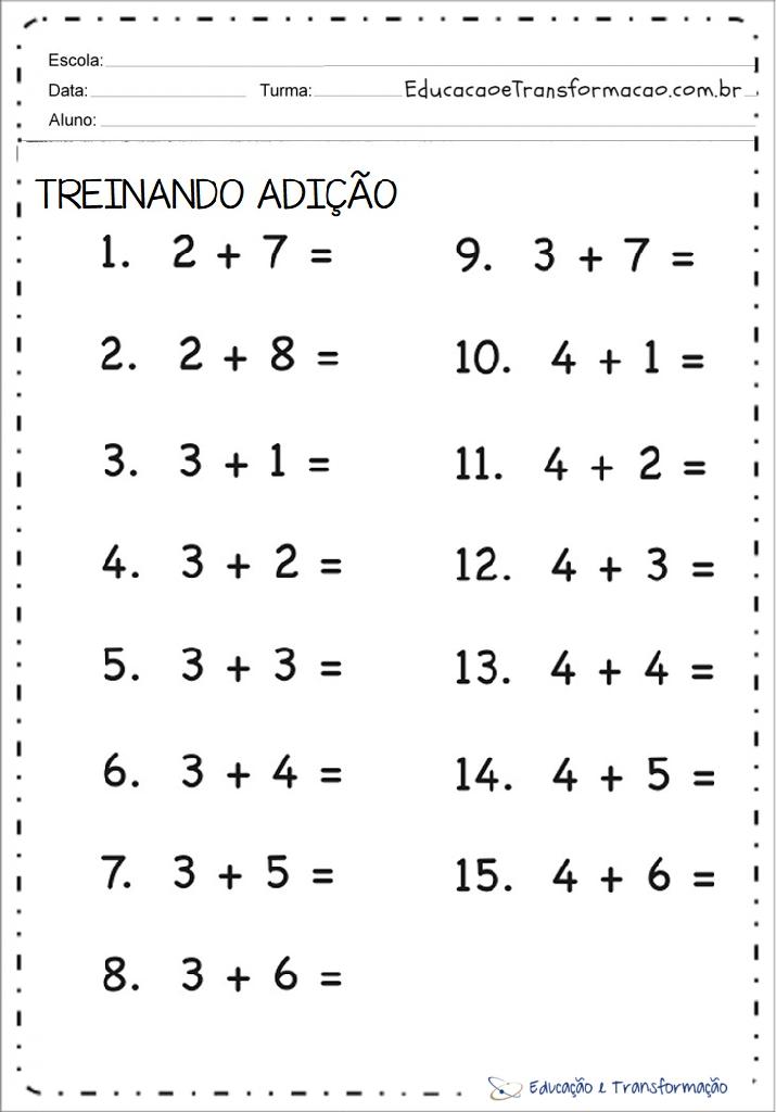 Atividades De Matematica 1º Ano Educacao E Transformacao
