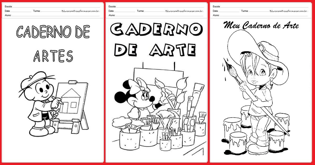 Capas Para Caderno De Artes Para Imprimir E Colorir