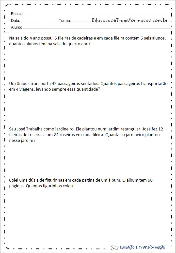 Problemas De Matematica 4 Ano Multiplicacao Para Imprimir Educacao E Transformacao
