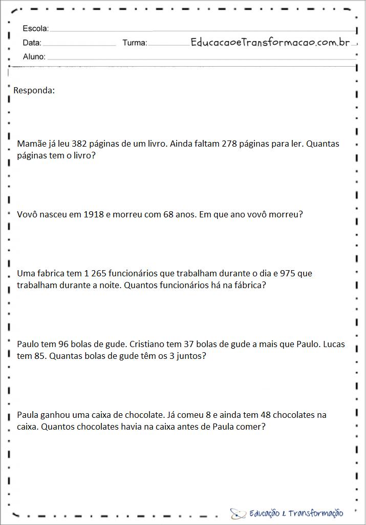 Problemas de matemática 4 ano adição e subtração para imprimir
