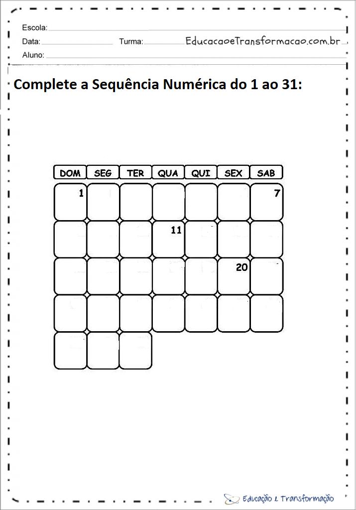 Atividades de matemática 1 ano sequencia numérica - Complete