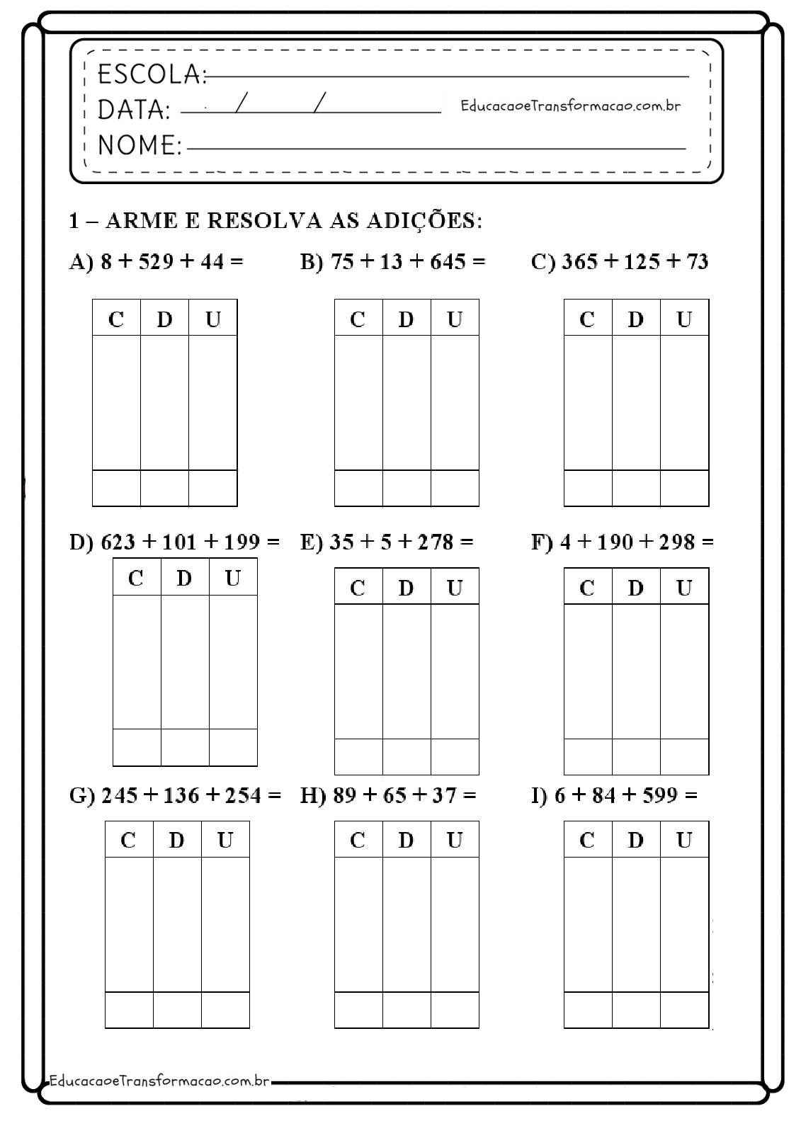 Atividades De Matematica De Adicao 1º Ano Do Ensino Fundamental